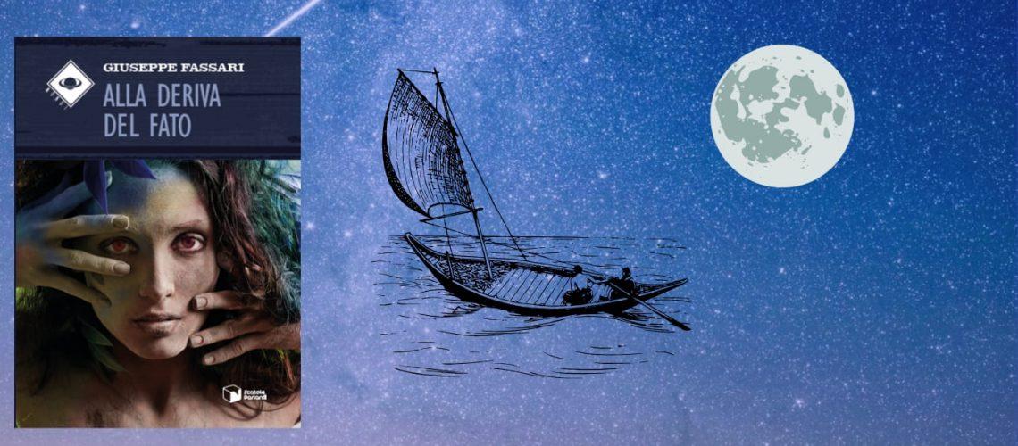 Barca solitaria oceano di notte